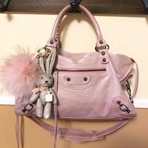 Auth. Balenciaga Rare Baby Pink Two Way City Bag